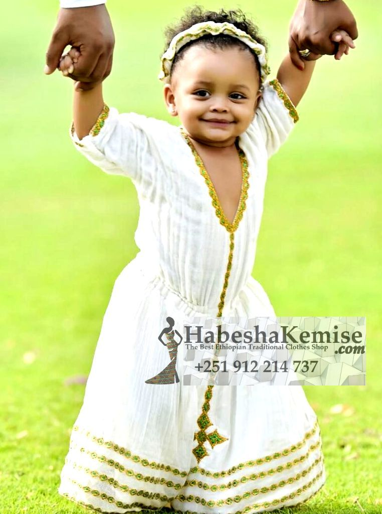Arenguaday Gold Ethiopian Traditional Dress Kids-11