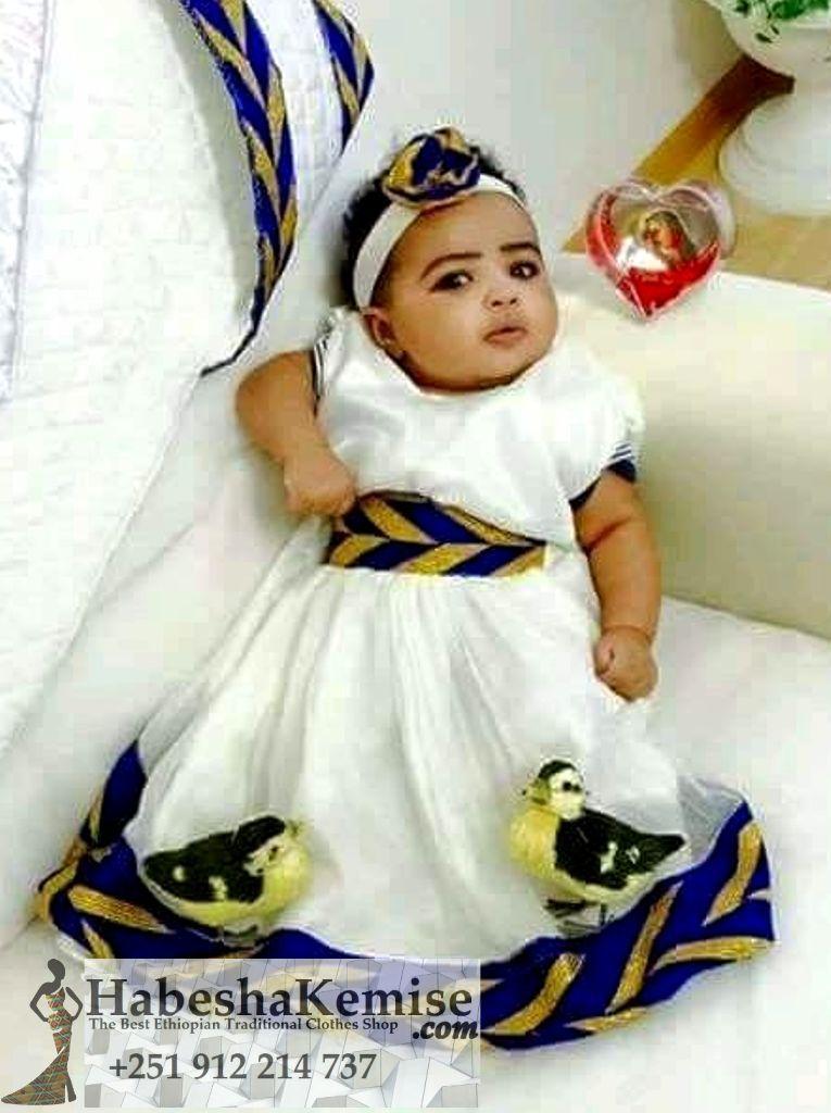 Baby Blue Ethiopian Traditional Dress Kids-12