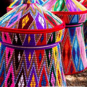 Colorful Hand Woven Mesob Ethiopian House Decor-18