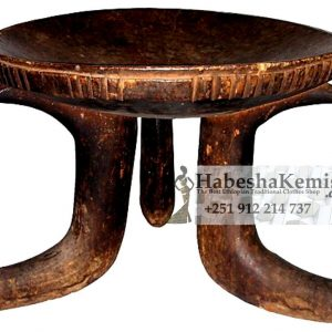 Dark Brown Wood Stool Ethiopian House Decor-16