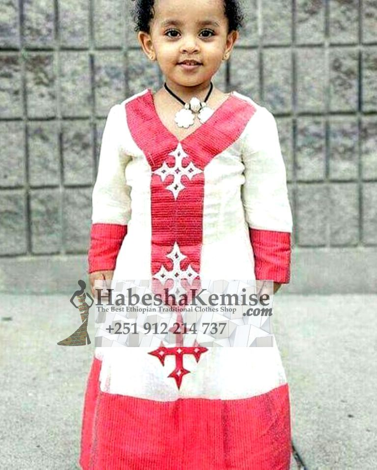 Pink Edna Ethiopian Traditional Dress Kids-18