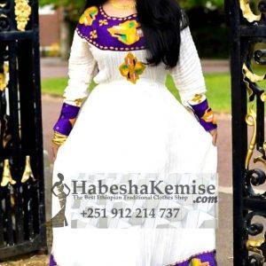 Purple Hiwot Ethiopian Traditional Dress-7